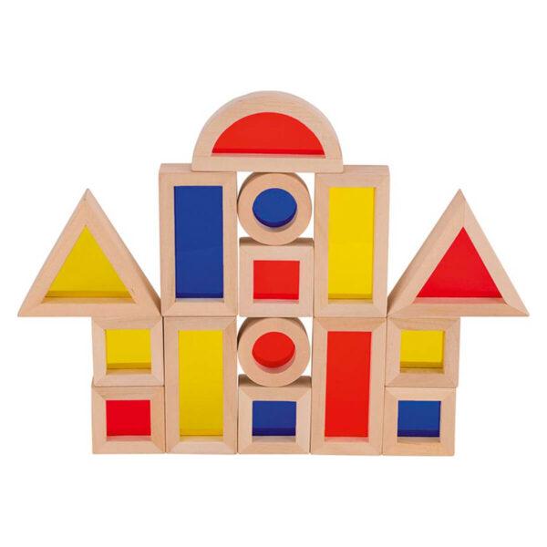 Blocuri din lemn cu ferestre colorate - Pentru constructie - Goki