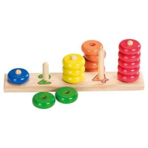 Joc din lemn pentru numarat cu inele - Learn to count - Goki