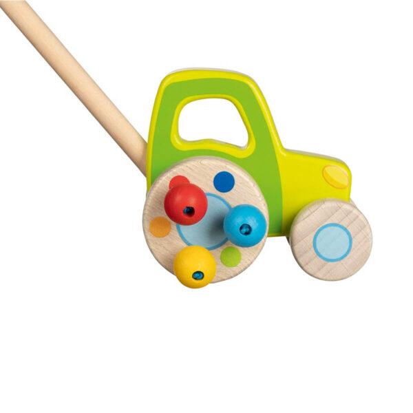 Tractor - Jucarie din lemn pe roti - Push along - 10 cm - Goki