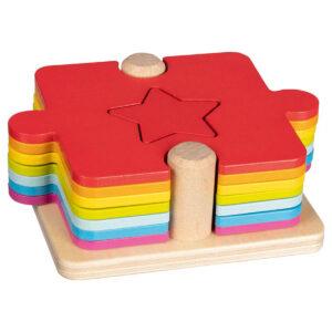 Puzzle din lemn - 2 in 1 - stivuire si așezare - Goki
