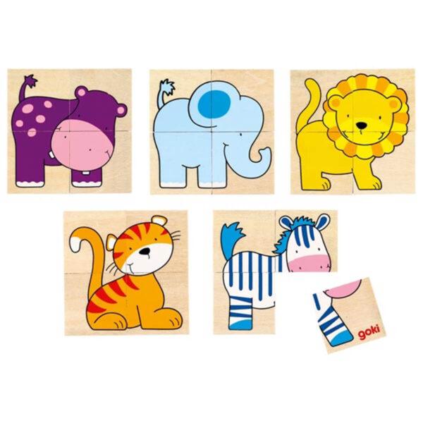 Joc de memorie Puzzle lemn - 5 animalute - 20 piese - Goki