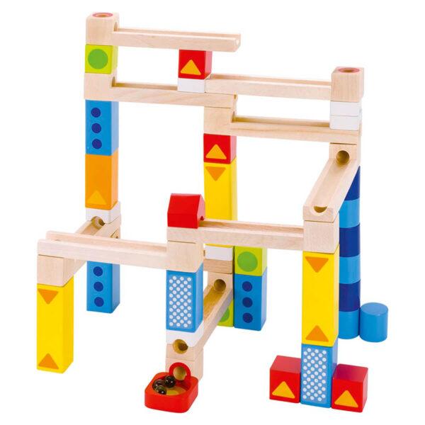 Set cuburi din lemn pentru constructii - Marble run - Goki