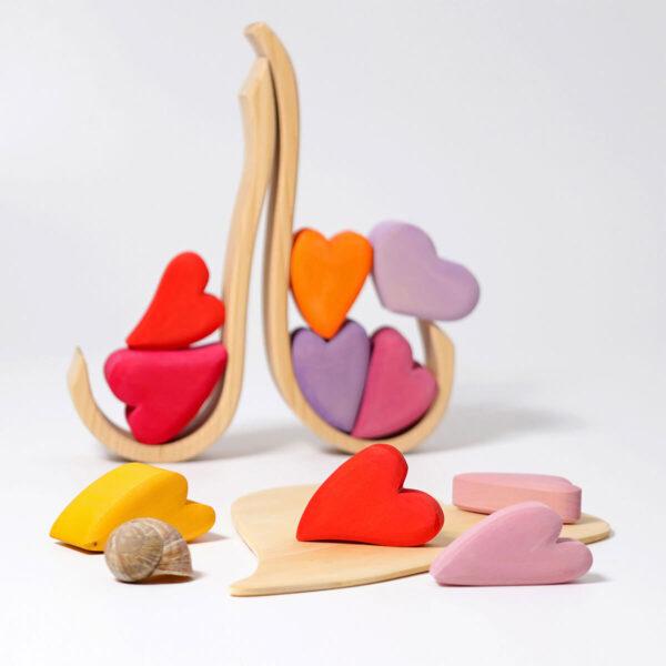Joc din lemn de sortare - Red hearts - Grimm's