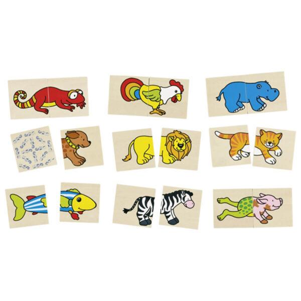 Joc de memorie si puzzle - Animale amuzante - 5 x 5 cm - Goki