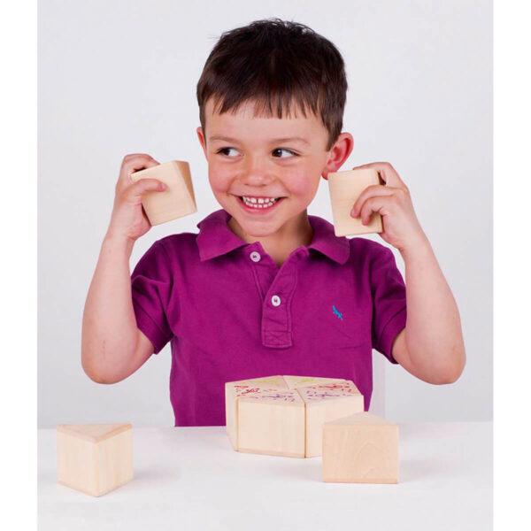 Joc din lemn cu blocuri - Potriveste blocurile cu acelas sunet - Goki
