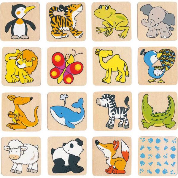 Joc de memorie - Animale - 5 x 5 cm - Goki