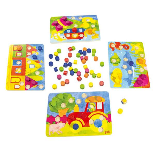 Joc din lemn - Potriveste culorile - 4 tablete - Goki