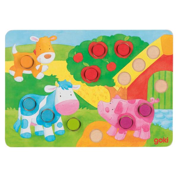 Joc din lemn - Potriveste culorile II - 4 planse - Goki