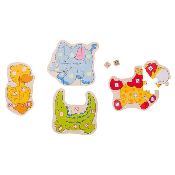 Joc de gandire - Puzzle cu zaruri - Animale - Goki