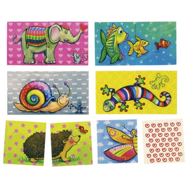 Joc de memorie si puzzle - Animale - 6.5 x 6.5 cm - Goki