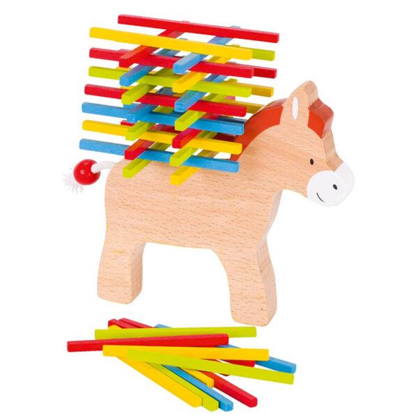 Joc de indemanare din lemn - Stivuieste betisoarele pe magarus - Goki