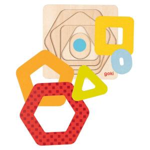 Joc de gandire - Puzzle stratificat - Forme geometrice II - 12 x 12 x 1.8 cm - Goki