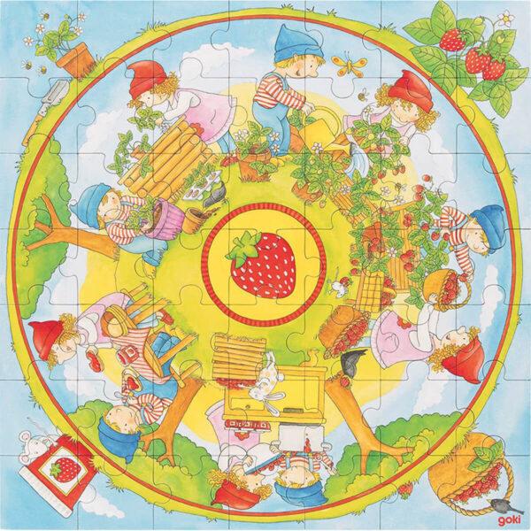 Joc de gandire - Puzzle XXL - Plantarea capsunilor - Goki