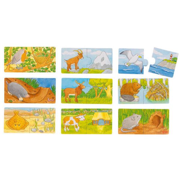 Joc de gandire - Mini Puzzle - Unde locuiesc animalele? - Goki