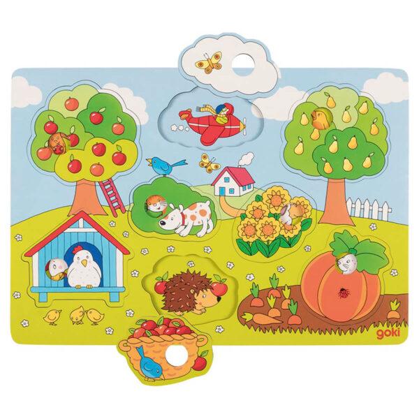 Joc puzzle din lemn - Lift-Out - In gradina - 29.8 x 20.8 cm - Goki