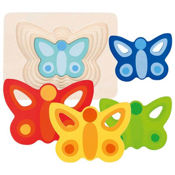 Joc de gandire - Puzzle stratificat - Fluturasi II - 17.3 x 13.3 x 1.7 cm - Goki