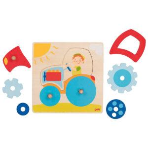 Joc puzzle din lemn - Lift-Out - Tractoras - 20 x 20 x 2.5 cm - Goki