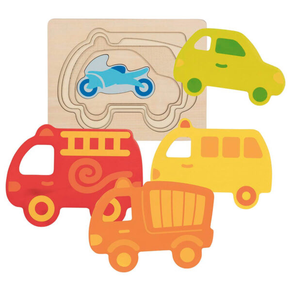 Joc de gandire - Puzzle stratificat - Vehicule - 17.2 x 13.2 x 1.8 cm - Goki