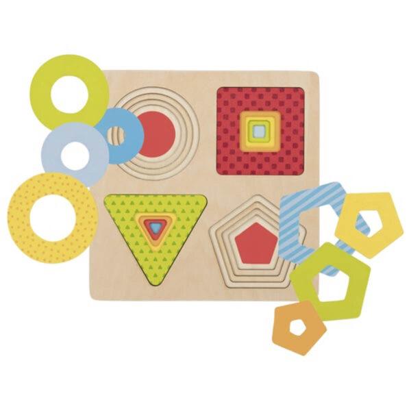 Joc de gandire - Puzzle stratificat - Forme geometrice - 19.7 x 19.7 x 1.4 cm - Goki