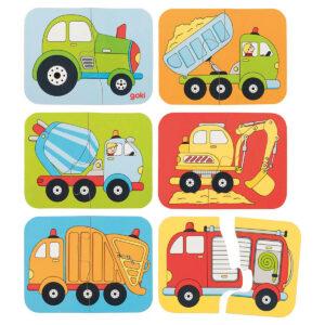 Joc din lemn - Mini puzzle cu vehicule - 12 x 9 cm - Goki