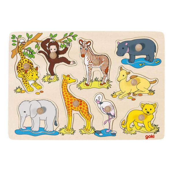 Joc puzzle din lemn - Lift-Out - Pui de animale din Africa - 30 x 21 x 2.4 cm - Goki