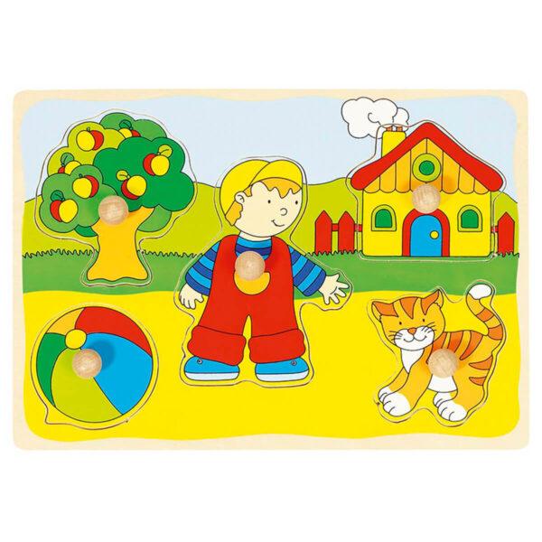 Joc puzzle din lemn - Lift-Out - Casa, pisica, baietelul... - 30 x 21 x 2.4 cm - Goki