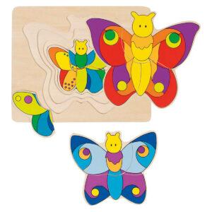Joc de gandire - Puzzle stratificat - Fluturasi - 17.7 x 14.5 x 1.5 cm - Goki