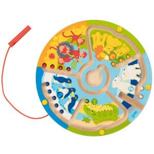 Joc educativ - Labirint cu magnet din lemn - Invata sa numeri in gradina zoologica - Goki