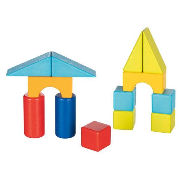 Jucarie din lemn - Carucior cu 20 de blocuri de constructie - Goki