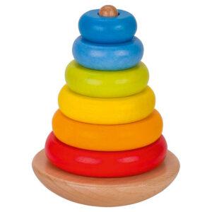 Joc de stivuire din lemn - Turn colorat - 12 cm - Goki