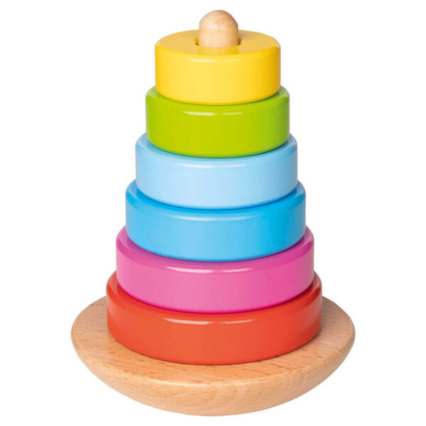 Joc de stivuire din lemn - Turn colorat II - 12 cm - Goki