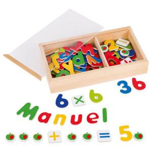 Jucarie din lemn - Alfabetul si numerele magnetice - Goki