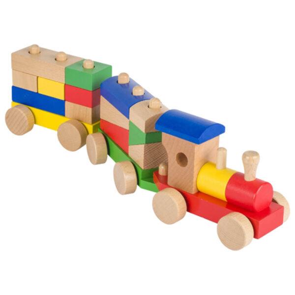 Trenulet cu blocuri - Jucarie din lemn - 41.3 x 7.2 x 10.1 cm - Goki