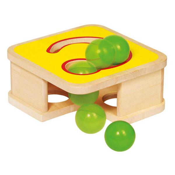 Jucarie din lemn - Banca cu ciocan si pista pentru bile - Goki
