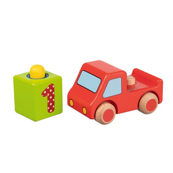 Jucarie din lemn - Masinuta cu claxon rosie - 10 x 6.5 x 9.1 cm - Goki