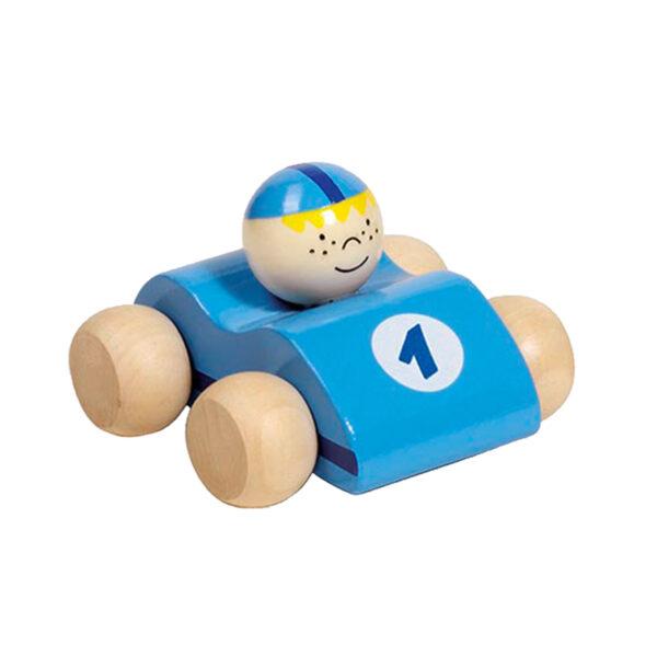 Jucarie din lemn - Masinuta curse albastru deschis - 8 x 7.2 x 5.5 cm - Goki