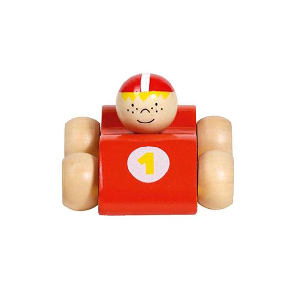 Jucarie din lemn - Masinuta curse rosie - 8 x 7.2 x 5.5 cm - Goki