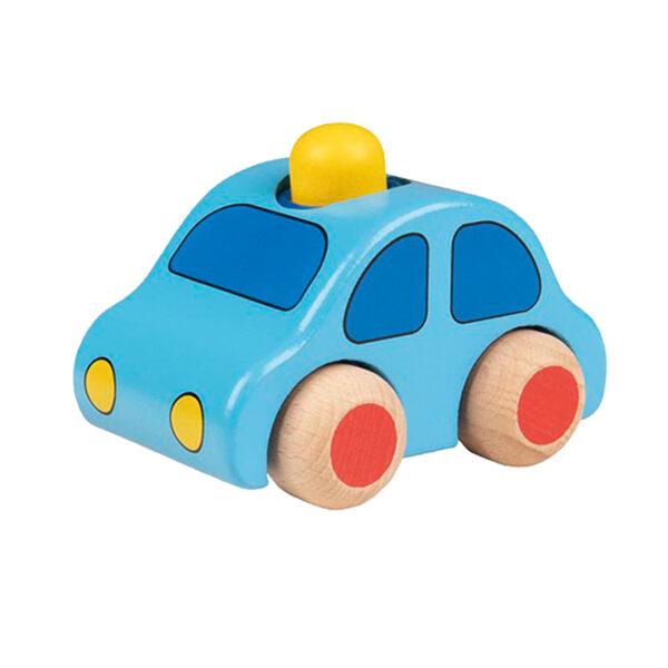 Jucarie din lemn - Vehicul cu claxon - albastru deschis - Goki