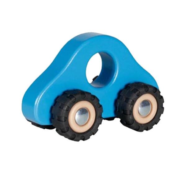Jucarie din lemn - Vehicul cu roti din cauciuc - albastru - 13.5 x 7 x 8 cm - Goki