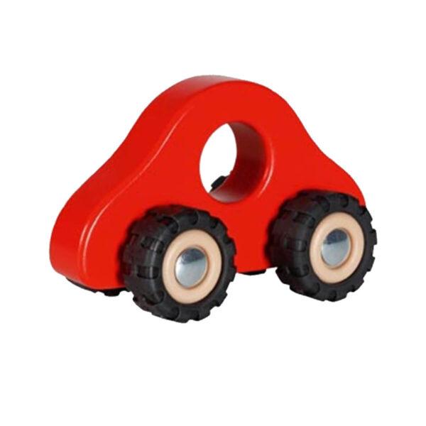 Jucarie din lemn - Vehicul cu roti din cauciuc - rosie - 13.5 x 7 x 8 cm - Goki