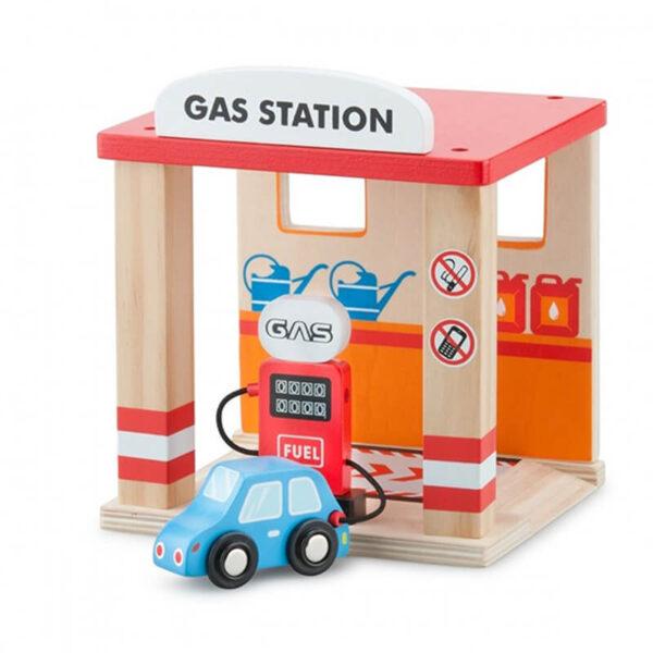 Jucarie din lemn - Benzinarie si o masina - 12.5 x 14 x 16.3 cm - New Classic Toys
