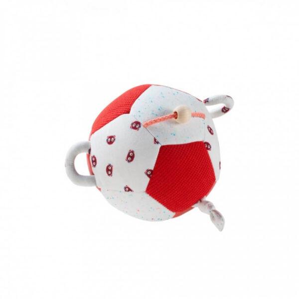 Minge soft cu activitati pentru bebelusi - George - alb cu rosu - 17 cm - Lilliputiens