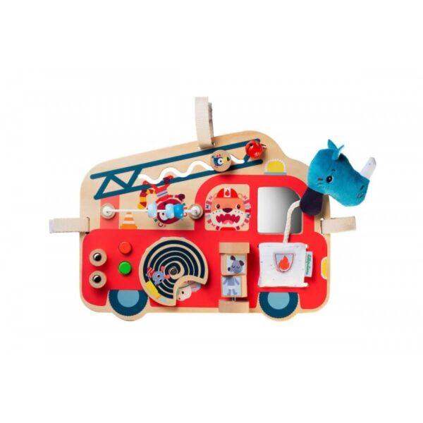 Panou din lemn cu activitati - Masina de pompieri - Lilliputiens