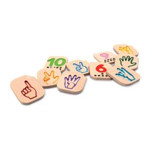 Jucarie din lemn - Semne de mana - Numere 1-10 - Plan Toys