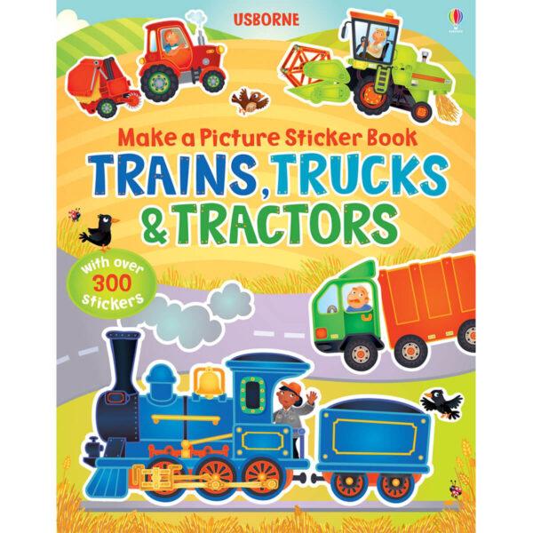 Carte pentru copii - Make a Picture Sticker Book Trains, Trucks & Tractors - Usborne