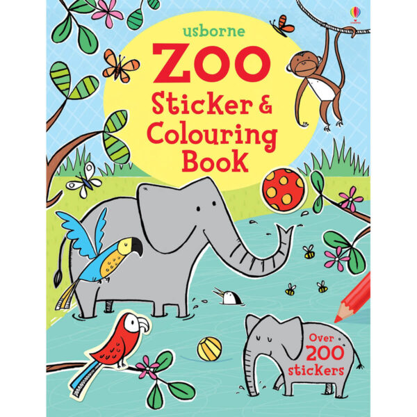 Carte pentru copii - Zoo Sticker and Colouring Book - Usborne