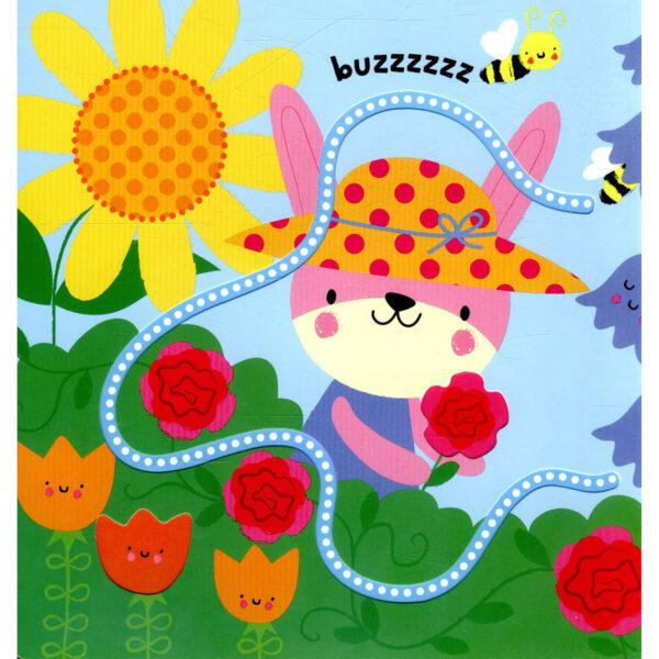 Carte pentru copii cu pagini cartonate - Baby's Very First Fingertrails Play Book Garden - Usborne