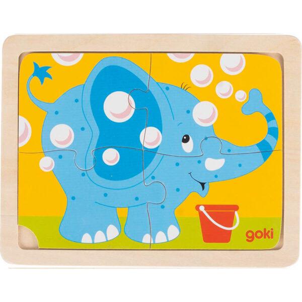 Joc de gandire - Puzzle - Elefant, dinozaur, masina pompieri - Goki