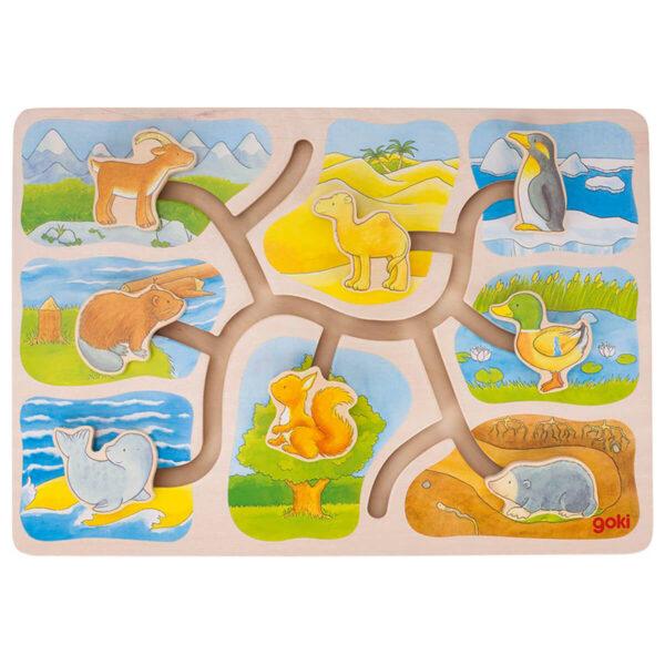 Joc puzzle din lemn - Sliding puzzle, who lives where? - Goki