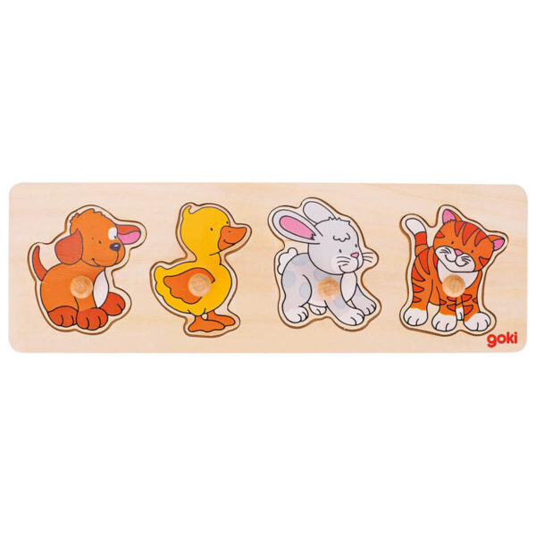 Joc puzzle din lemn - Lift-Out - Catel, ratusca, iepuras, pisicuta - 30 x 10 x 2.4 cm - Goki